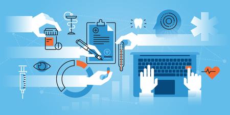 의료 학교, 의료 전문의 플랫 라인 디자인 웹 사이트 웹 디자인, 마케팅 및 인쇄 자료에 대 한 현대 그림. 일러스트