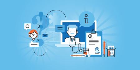 オンライン医療サービスのフラット ライン デザインのウェブサイト。Web デザイン、マーケティング、印刷素材のモダンなイラスト。