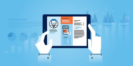 Flat line design website of medical app. Modern illustration for web design, marketing and print material. Иллюстрация