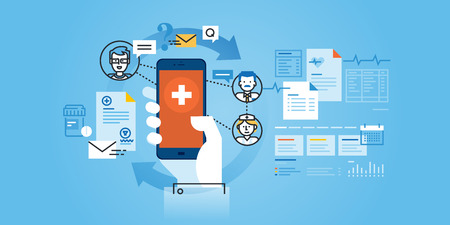 Flat line design website of healthcare mobile app. Modern illustration for web design, marketing and print material. Zdjęcie Seryjne - 54638795