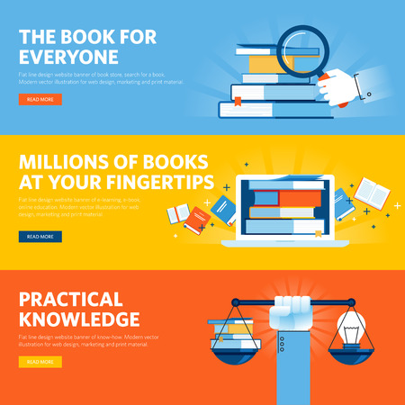 know how: Set of flat line design web banners for online book store, e-book, know how. Illustration concepts for web design, marketing, and graphic design. Illustration
