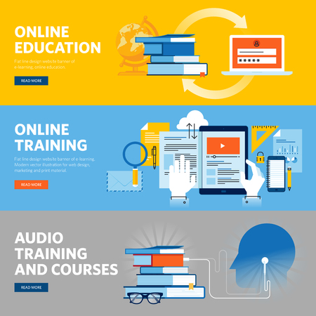 online education: Set of flat line design web banners for online education, online training and courses. Vector illustration concepts for web design, marketing, and graphic design.
