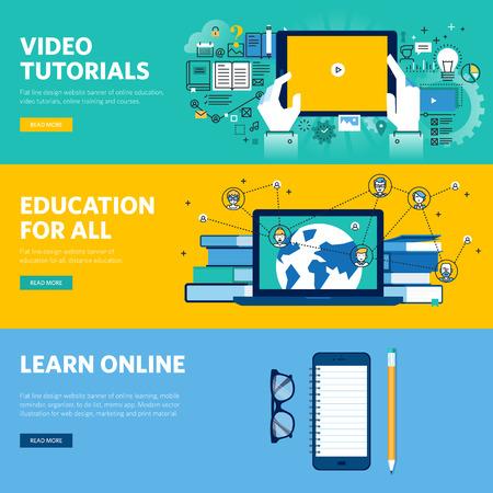 교육: 원격 교육, 온라인 학습, 비디오 자습서 플랫 라인 디자인 웹 배너의 집합입니다. 웹 디자인, 마케팅, 그래픽 디자인을위한 벡터 일러스트 레이 션 개념입니다.