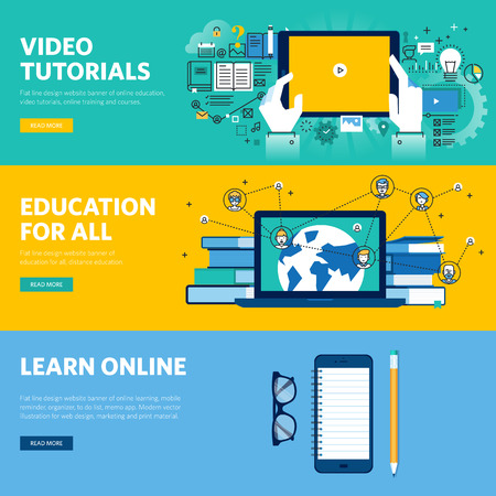 knowledge business: Set of flat line design web banners for distance education, online learning, video tutorials. Vector illustration concepts for web design, marketing, and graphic design.