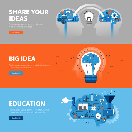 specialization: Set of flat line design web banners for learning process, brainstorming, exchanging ideas, experiences, knowledge.