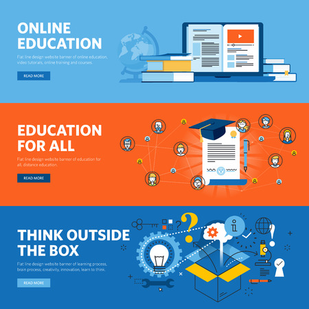 Set of flat line design web banners for online education. 矢量图像