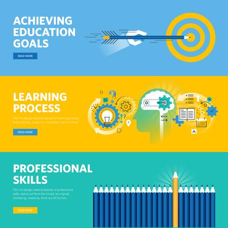 Set of flat line design web banners for education, learning process, professional skills. Ilustração