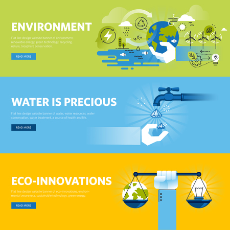 Set of flat line design web banners for environment, renewable energy, green technology, ecology. Illustration