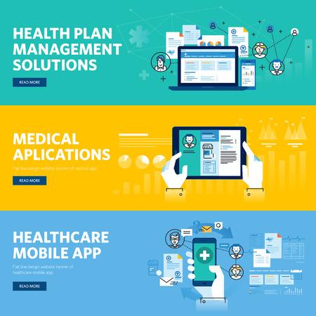 医療モバイル アプリ、健康計画管理ソリューションのフラット ライン デザイン web バナーのセットです。Web デザイン、マーケティング、およびグ
