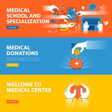 medical education: Set of flat line design web banners for online medical education, medical donations, medical center information and facilities.