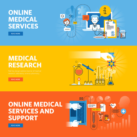 Set of flat line design web banners for online medical services and support, medical research. Иллюстрация