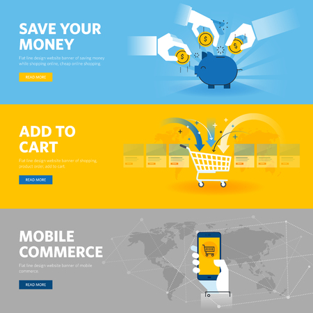 web shopping: Set of flat line design web banners for mobile commerce, banking and savings, online shopping, m-banking.
