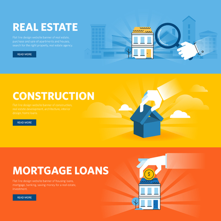building loan: Set of flat line design web banners for real estate, construction, architecture and interior design, mortgage loans.