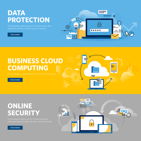 Set of flat line design web banners for data protection, internet security, antivirus software and services, business cloud computing. Vector illustration concepts for web design, marketing, and graphic design.