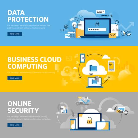 Zestaw płaskich linii wzorniczej internetowych banerów w zakresie ochrony danych, bezpieczeństwa Internetu, oprogramowania antywirusowego i usług cloud computing biznesu. ilustracji wektorowych koncepcje projektowania stron internetowych, marketingu i projektowania graficznego.