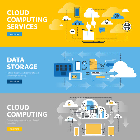 Set of flat line design web banners for cloud computing services and technology, data storage. Illustration