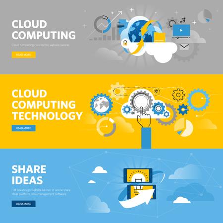 Set di linea piatta banner web design per il cloud computing, piattaforma online di condivisione di idee, il software di gestione idea. concetti illustrazione vettoriale per il web design, marketing e graphic design.