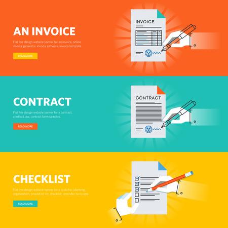 contratos: Conjunto de banderas de línea plana de diseño web para documentos comerciales, muestras de formularios y plantillas de documentos, generador de documentos en línea y aplicación.