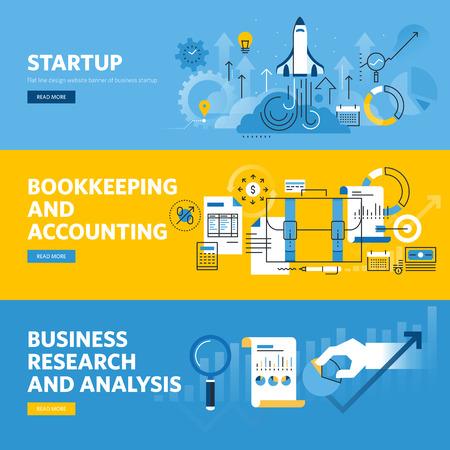 contabilidad: Conjunto de banderas planas línea de diseño web para el inicio de la empresa, las finanzas, la contabilidad y la contabilidad, la investigación y el análisis de negocios.