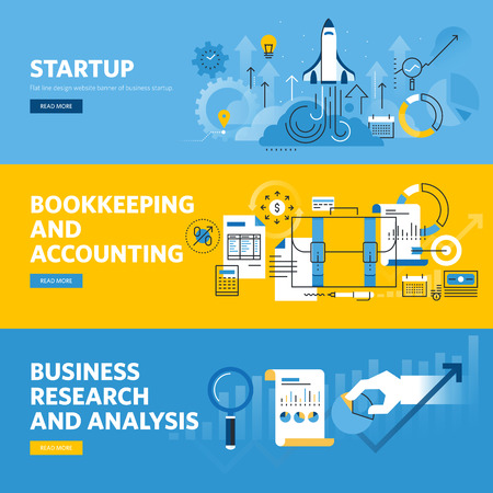 accounting design: Set of flat line design web banners for company startup, finance, bookkeeping and accounting, business research and analysis.