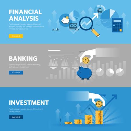Set di linea piatta banner web design per il settore bancario e finanziario, gli investimenti, ricerche di mercato, analisi finanziaria, il risparmio.