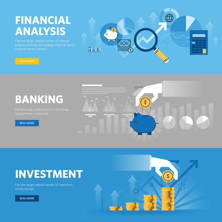investment: Set of flat line design web banners for banking and finance, investment, market research, financial analysis, savings.