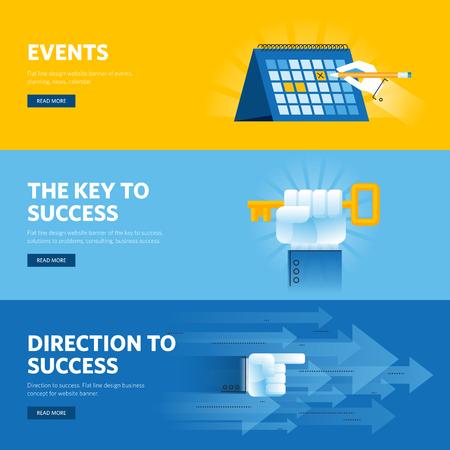 Busisness 成功、戦略、組織、ニュースおよびイベント用フラット ライン デザイン web バナーのセットです。Web デザイン、マーケティング、およびグ
