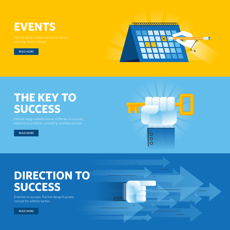 calendar design: Set of flat line design web banners for busisness success, strategy, organization, news and events. Vector illustration concepts for web design, marketing, and graphic design.