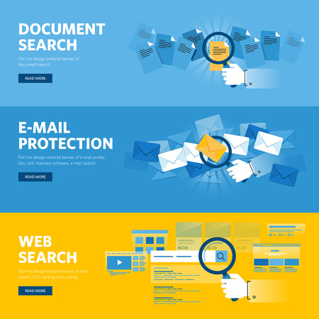 internet protection: Set of flat line design web banners for job document search, website search, email protection, browser app, internet services. Illustration