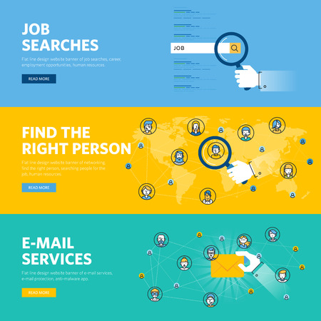 searches: Set of flat line design web banners for job searches, human resources, e-mail services, professional skill, employment opportunities, career. Illustration