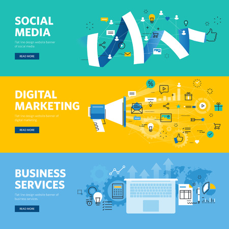 Set of flat line design web banners for social media, internet marketing, networking and business services.