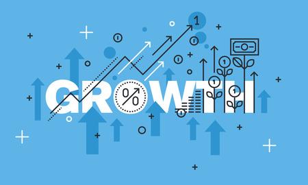 Современная концепция дизайна тонкая линия для веб-сайта РОСТ баннера. Вектор иллюстрации концепции для успеха в бизнесе, финансовых результатов, банковской деятельности, рост прибыли и доходов, рынка ценных бумаг.