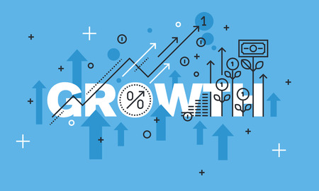 Modern thin line design concept for GROWTH website banner. Vector illustration concept for business success, financial results, banking, earnings growth and revenue, stock market. Ilustração