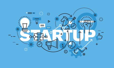 STARTUP 웹 사이트 배너에 대한 현대 얇은 라인 디자인 컨셉. 벡터 일러스트 레이 션 비즈니스 시작, 새로운 제품 및 서비스 개발, 시작 회사, crowdfunding에