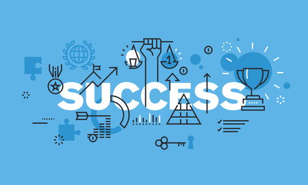 Modern thin line design concept for SUCCESS website banner. Vector illustration concept for business success, sports achievements, successes in science, successes in various competitions, financial results, consulting. Ilustração