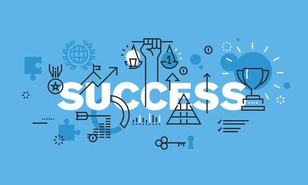 SUCCESS 웹 사이트 배너 현대 얇은 라인 디자인 개념입니다. 비즈니스 성공, 스포츠 성과, 과학에 성공, 각종 대회, 재무 성과, 컨설팅 성공 벡터 일러스트 일러스트