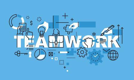 チームワークのウェブサイトのバナーのデザイン コンセプトを現代の細い線。ビジネス人々 のチームワーク、人材、キャリアの機会、チームのスキ