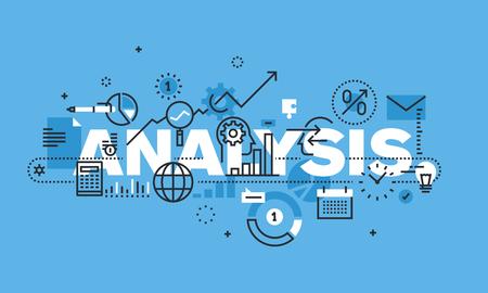 モダンな細い線分析のウェブサイトのバナーのデザイン コンセプト。ビジネス分析、市場調査、製品テスト、データ分析のベクトル図概念。