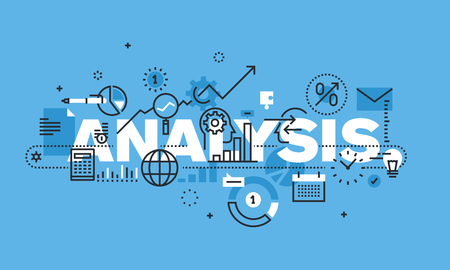 ANALYSIS 웹 사이트 배너에 대 한 현대 얇은 라인 디자인 개념. 벡터 일러스트 레이 션 비즈니스 분석, 시장 조사, 제품 테스트, 데이터 분석에 대 한 개념.