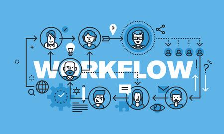 procedures: Modern thin line design concept for WORKFLOW website banner. Vector illustration concept for business workflow, management and procedures. Illustration