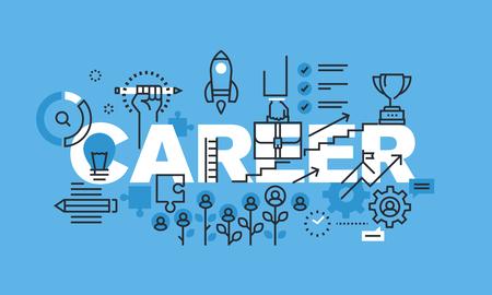 career management: Modern thin line design concept for CAREER website banner. Vector illustration concept for human resources, career opportunities, professional skills, management.