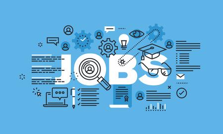 ジョブのウェブサイトのバナーのデザイン コンセプトを現代の細い線。検索のための図の概念をベクトルし、ジョブ、キャリアおよび雇用の適用し