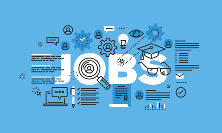 Modern dunne lijn design concept voor banen website banner. Vector illustratie concept voor het zoeken en solliciteren, loopbaan en werkgelegenheid.