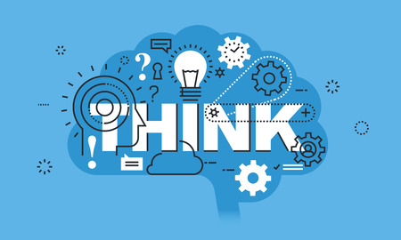 think: Modern thin line design concept for THINK website banner. Vector illustration concept for thinking process, education, brainstorming
