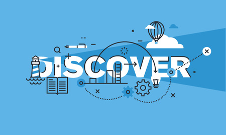 discover: Modern thin line design concept for DISCOVER website banner. Vector illustration concept for creativity, innovation, vision.