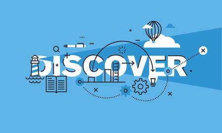 Moderne dünne Linie Design-Konzept für DISCOVER Website Banner. Vektor-Illustration Konzept für Kreativität, Innovation, Vision. Vektorgrafik