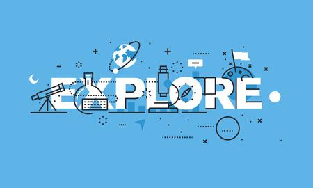 Moderne dünne Linie Design-Konzept für die Website-Banner EXPLORE. Vektor-Illustration Konzept für Wissenschaft, Forschung und Entdeckung.