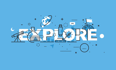 Modern thin line design concept for EXPLORE website banner. Vector illustration concept for science, research and discovery.