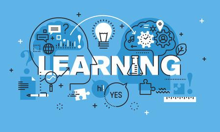 学習のウェブサイトのバナーのデザイン コンセプトを現代の細い線。教育、アイデアや経験、ブレーンストーミングのベクトル図のコンセプトです  イラスト・ベクター素材