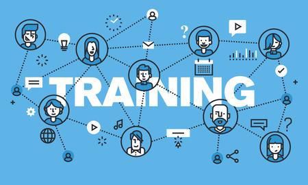 トレーニングのウェブサイトのバナーのデザイン コンセプトを現代の細い線。オンライン トレーニング、遠隔教育、インターネットを通じて知識の  イラスト・ベクター素材